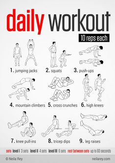 Easy Daily Workout. This would be great to do during the holidays when fitting in a long workout is difficult!