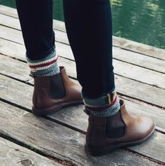 Tribe leather + cozy cabin socks = fall ready. Our classic cooler weather look!
