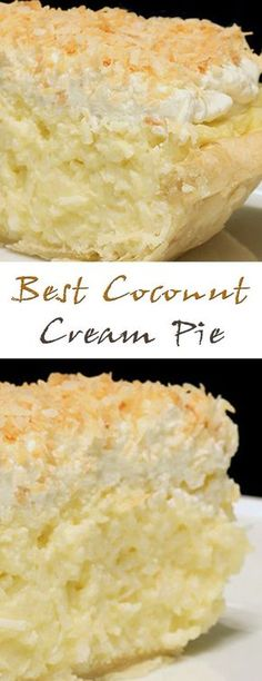 Best Coconut Cream Pie will suit everyone. A delicate and crispy cake, a sweet filling and a layer of coconut cream will give an unforgettable taste. Cook this Coconut Desserts, Coconut Recipes, Just Desserts, Baking Recipes, Delicious Desserts, Yummy Food, Coconut Cakes, Best Coconut Cream Pie, Coconut Cream Pie Bars Recipe