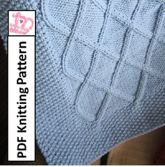 Baby Blanket Knitting Pattern, PDF Knitting Pattern - Diamond Cable Baby Blanket/throw/afghan 28 x 36 Knitted Afghans, Knitted Baby Blankets, Baby Afghans, Crochet For Kids, Knit Crochet, Knitting Projects, Knitting Ideas, Moss Stitch, How To Start Knitting