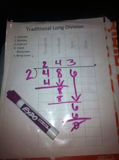Such a fantastic idea. Take a dry eraser marker, plastic sleeve and insert the long division paper and you have a mini white board for you child to practice on:) write and wipe....write and wipe #mathforadults