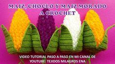 MAIZ, CHOCLO Y MAIZ MORADO TEJIDO A CROCHET para adorno de cocinas paso...