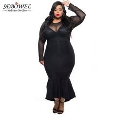 Cheap plus size dress, Buy Quality party dresses directly from China dress plus Suppliers: 2018 Winter Autumn Mermaid Evening Long Party Dress Black See Through Mesh Long Sleeve Sexy Plus Size Dress XXXL Women Clothing Long Sleeve Mermaid Dress, Midi Dress With Sleeves, Black Long Sleeve Dress, Mermaid Dresses, Dress Black, Lace Mermaid, Big Size Dress, Plus Size Dresses, Plus Size Outfits