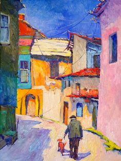 For Sale on - Forgotten Street, Oil Paint by Suren Nersisyan. Offered by UGallery. Oil Painting App, Simple Oil Painting, Oil Painting Abstract, Watercolor Art, Building Painting, Building Art, Scenery Paintings, Mountain Paintings, Landscape Art