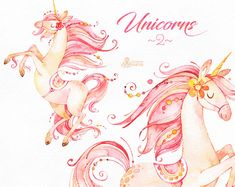 Unicorns 2. Magical Watercolor Clipart. Fairytale fantasy