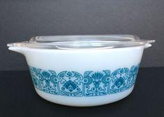 Pyrex HORIZON Blue White Casserole Dish With Lid 1 1/2 Pint 472 470-C Art Deco #Pyrex