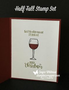 I used the Half Full stamp set and Brick Embossing Folder from Stampin' Up! to make this funny Christmas card.