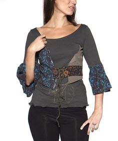 Look what I found on #zulily! Charcoal Patchwork Bell-Sleeve Scoop Neck Top #zulilyfinds