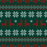 Vector: Seamless Stitch Pattern Norwegian Style Green/Red/White