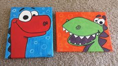 Check out this item in my Etsy shop https://www.etsy.com/listing/206793148/cute-dinosaur-canvas-paintings