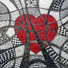 Zentangle + rood hart