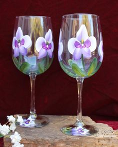 Set of 2 Hand Painted Wine Glasses - Purple Orchids by SilkEleganceFlorals on Etsy