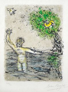 Chagall Hand Signed Color Lithograph | The Waves Swallow up Ulysses from the Odyssey Suite, 1975