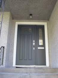 Black Front Door With Single Sidelight Grey Doors Iron