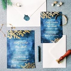 Foil invitations were extremely popular in 2017 including our Signature range design Fall Foliage. Blue Wedding Stationery, Affordable Wedding Invitations, Watercolor Wedding Invitations, Wedding Stationary, Wedding Paper, Wedding Cards, Rustic Wedding Inspiration, Invitation Design, Stationery Design