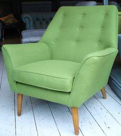 1950's English armchair in green tweed.