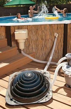 Solar energy is so neat! Heat your pool water the *green* way using solar energy! Works with above ground & MOST inground pools! Above Ground Pool, In Ground Pools, Swimming Pool Heaters, Pool Care, My Pool, Pool Fun, Pool Decks, Cool Pools, Pool Landscaping