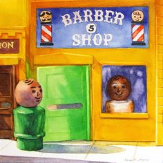"""Daily Paintworks - """"A Shave And A Haircut"""" - Original Fine Art for Sale - © Kara K. Bigda"""