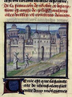Jérusalem.  (BNF, Mss fr 68, folio 98)
