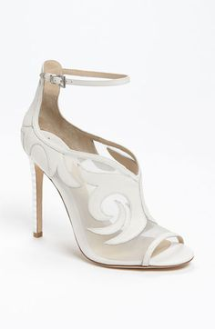 """B Brian Atwood 'Linscott' Sandal--- another set of bridal booties. I have a pant-set on my """"The Big Day"""" that I don't think too many women would pass the suit up or the shoes. Well, maybe a woman who's always dreamed of a traditional ceremoney. I eloped ! Fancy Shoes, Pretty Shoes, Hot Shoes, Beautiful Shoes, Me Too Shoes, Shoes Heels, Brian Atwood, Bridal Shoes, Wedding Shoes"""