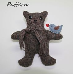 PATTERN PDF for My Message Bear from wool or by BecomingBearsETC, $9.00
