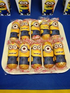 Dressed up Twinkies at a Minion birthday party!  See more party planning ideas at CatchMyParty.com!