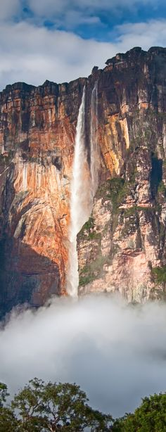 Angel Falls is in Cainama National Park in Bolivar State, Venezuela, South America