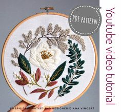 Pink and burgundy peonies/ Herb Embroidery, Floral Embroidery Patterns, Creative Embroidery, Embroidery Hoop Art, Embroidery Designs, Embroidery For Beginners, Embroidery Techniques, White Lotus, Back Stitch