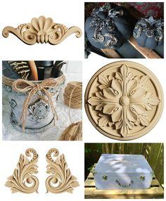 Motive ornamentale din lemn termoplastic pentru mobilă sau obiecte.