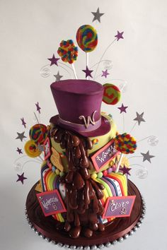Willy wonka themed birthday cake