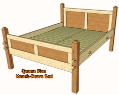 Knock-Down Queen Bed. Could decorate this with carving or painting