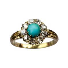 1890s English Victorian Turquoise and European Cut Diamond Ring, 18K... ($1,295) ❤ liked on Polyvore featuring jewelry, rings, jewelry/hats/glasses, accessories, delete, antique rings, gold diamond rings, gold turquoise ring, 18 karat gold ring and antique yellow gold rings