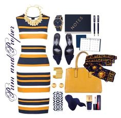 Prim and Proper by themathematician on Polyvore featuring polyvore, moda, style, Anya Hindmarch, Oscar de la Renta, Marc by Marc Jacobs, Stephanie Kantis, Versace, Yves Saint Laurent, StudioSarah, AT-A-GLANCE, Parker, fashion, clothing, WorkWear, chic, classy and under100