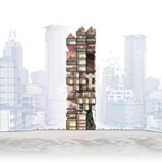 Rethinking Urbanism Through Vertical Cities – Architecture . Architecture Graphics, Architecture Drawings, Architecture Plan, Architecture Details, Interior Architecture, Photomontage, Vertical City, Photoshop Rendering, Architectural Section