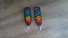 Rainbow Tower of Eyes Quilled Earrings