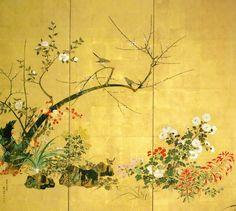 「四季花鳥図屏風」(六曲一双 1854年 東京黎明アートスペース)kiitsu-flowers-and-birds-of-four-seasons