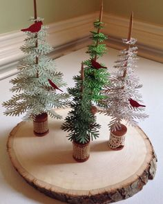 "Pine tree centerpiece, made with die set ""Take a Bough "" by Concord & 9th"