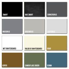 Veel keuze uit kleurencollectie voor onze magneetborden, magneetwanden in whiteboard en krijtbord. Voor thuis en kantoor! Whiteboard, Magnets, Color, Design, Atelier, Erase Board, Colour, Colors