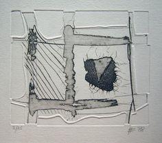 handlijn compositie 34 van Harry Agema | Puzzeldruk, reliefdruk, droge naald, sucre en aquatint. 6 technieken in 1 ets. Lijst van 50x40 cm