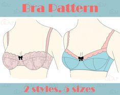 Bra PATTERN. 2 styles, multi sizes. AA  A   B  C  D. Instant download pdf sewing pattern. Burlesque Retro Mod style.