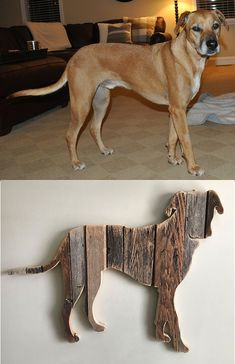 Dog named Boomer - custom made from repurposed weathered barn wood.