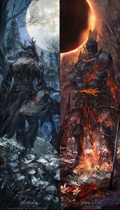 Bloodborne/Dark Souls by Stu_dts : gaming Fantasy Kunst, Dark Fantasy Art, Fantasy Artwork, Dark Artwork, Fantasy Character Design, Character Art, Arte Dark Souls, Dark Souls 3 Knight, Bloodborne Art