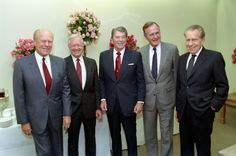 Presidents Gerald R. Ford, Jimmy Carter, Ronald Reagan, George Bush, and Richard Nixon at the 1991 dedication of the Reagan Library .