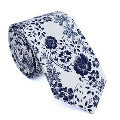 Floral Skinny Tie Cream Black Skinny Tie Man Tie Floral by DAZIusa