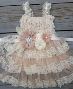 Rustic Flower Girl Dress Lace Flower by TheDaintyDaisyNJ on Etsy, $52.50