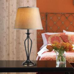 Hampton Bay Rhodes 28 in. Bronze Table Lamp-HD09999TLBRZC at The Home Depot
