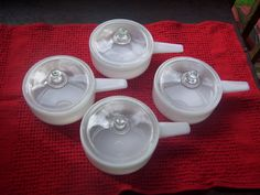 Vintage McKee Ovenware Glasbake Soup/Chili Bowls with Glass Lids on Etsy, $30.00