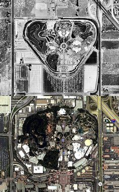Aerial Views of Disneyland Then and Now in 1955 and 2008