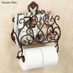 Aldabella Wall Magazine Rack with Toilet Paper Holder