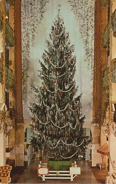 §§§ : Sterling Lindner Christmas Tree - Cleveland, Ohio :   It's America's tallest indoor tree, symbol of Christmas in Cleveland for well over 30 years. Towering 60 feet tall, the Sterling Tree is festooned with 60 pounds of icicles, 1,000 yards of tinsel, 1,500 ornaments. Once again, our Tree is dedicated to community service in the Annual Christmas Seal Drive...and our entire store family wishes you a happy holiday season.